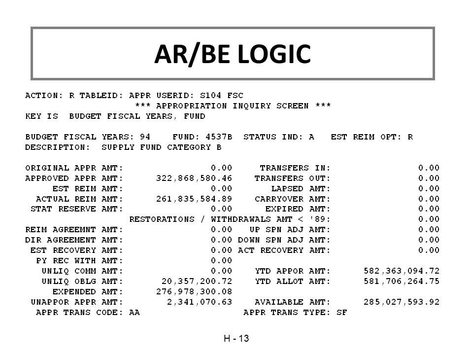 AR/BE LOGIC H - 13