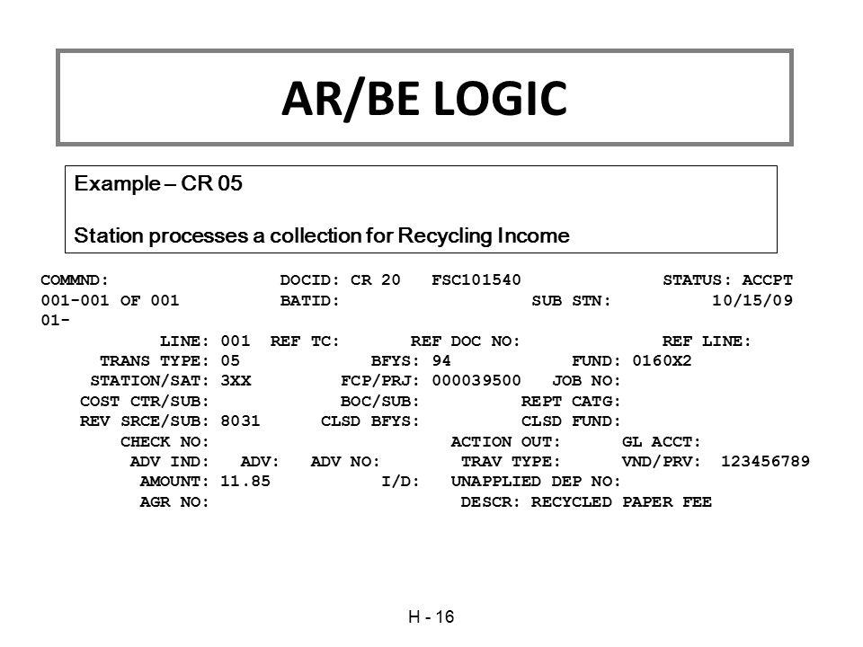 AR/BE LOGIC Example – CR 05