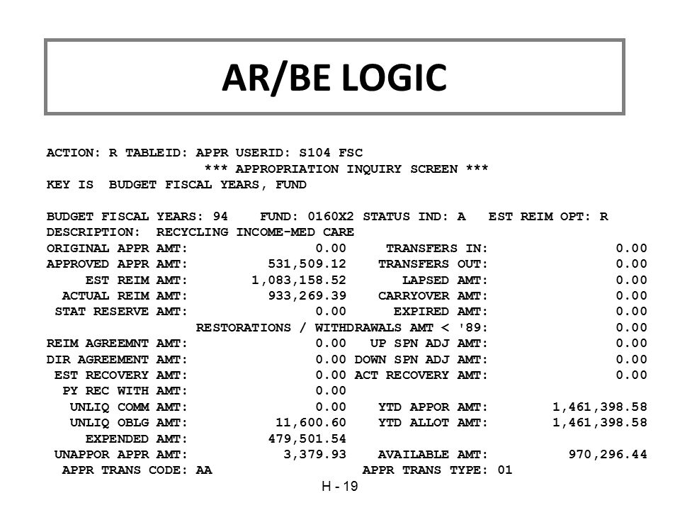 AR/BE LOGIC ACTION: R TABLEID: APPR USERID: S104 FSC