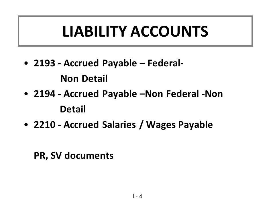 LIABILITY ACCOUNTS 2193 - Accrued Payable – Federal- Non Detail