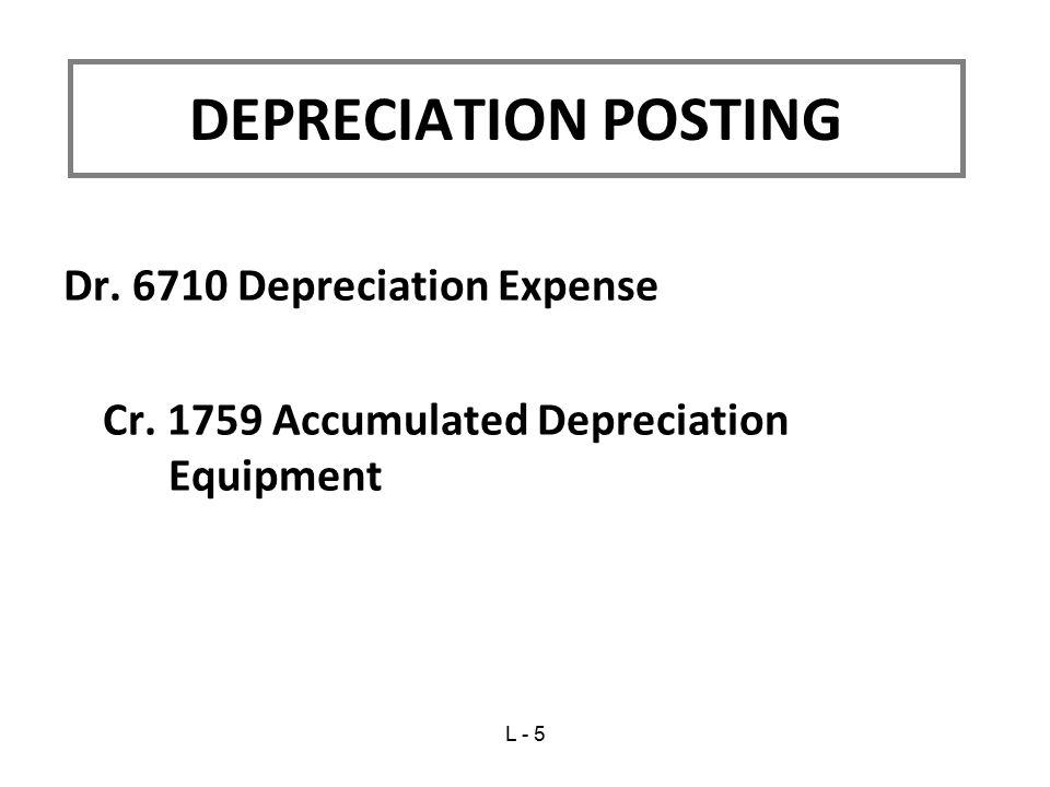 DEPRECIATION POSTING Dr. 6710 Depreciation Expense