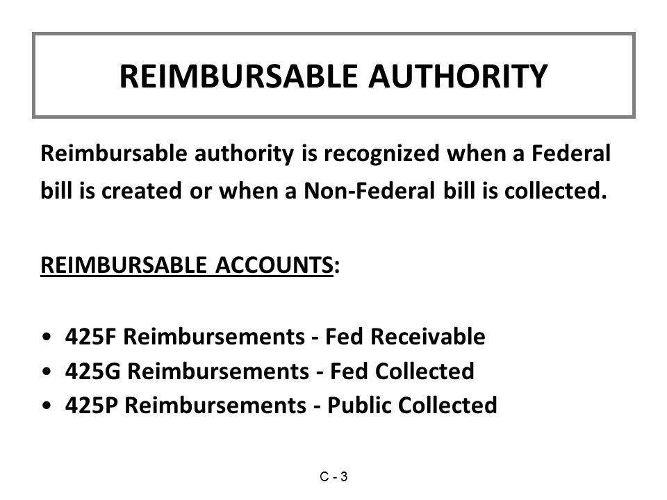 REIMBURSABLE AUTHORITY