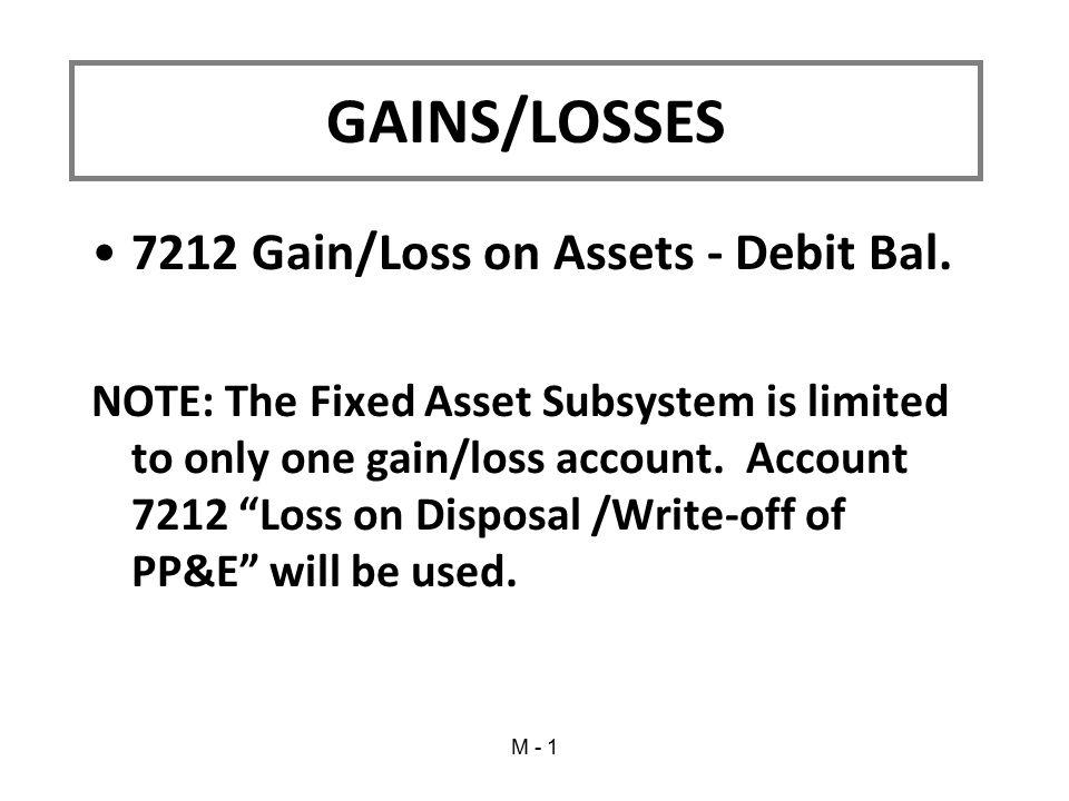 GAINS/LOSSES 7212 Gain/Loss on Assets - Debit Bal.