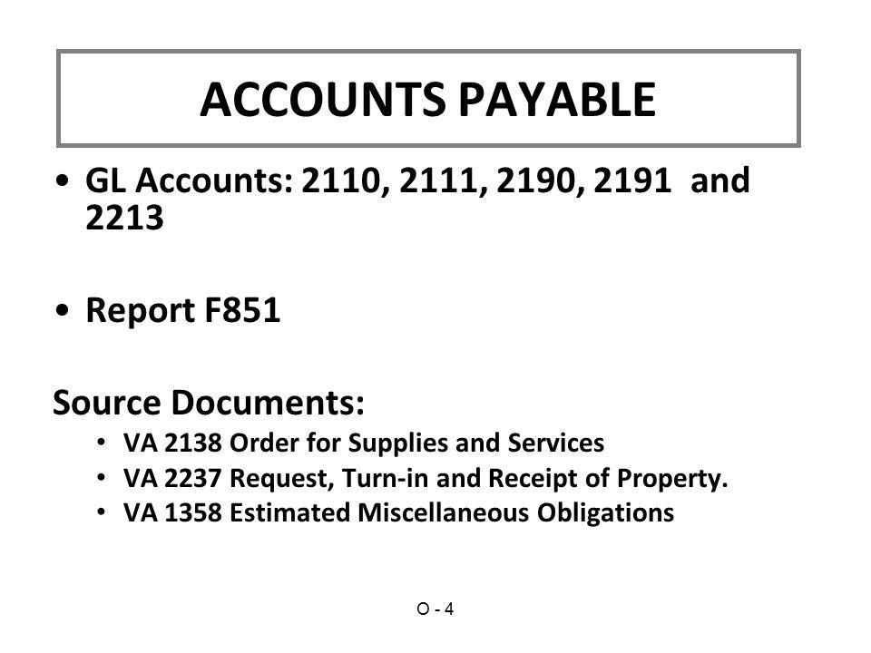 ACCOUNTS PAYABLE GL Accounts: 2110, 2111, 2190, 2191 and 2213