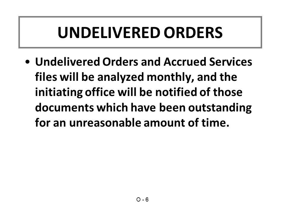 UNDELIVERED ORDERS