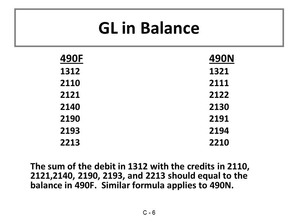 GL in Balance 490F 490N. 1312 1321. 2110 2111. 2121 2122. 2140 2130. 2190 2191.