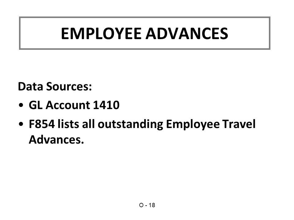 EMPLOYEE ADVANCES Data Sources: GL Account 1410