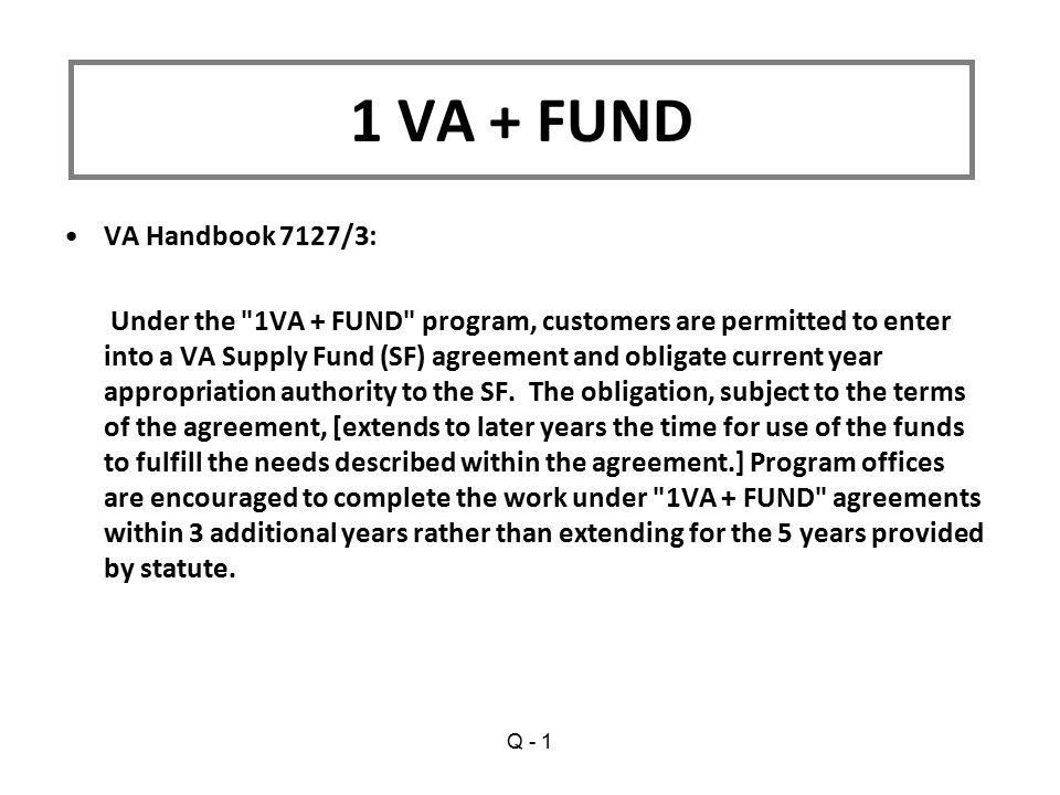 1 VA + FUND VA Handbook 7127/3: