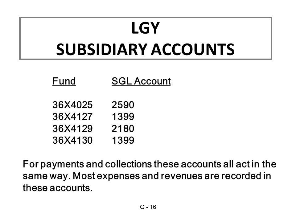 LGY SUBSIDIARY ACCOUNTS