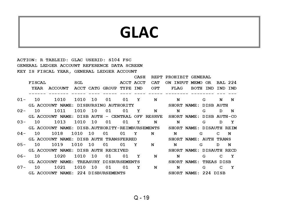 GLAC Q - 19 ACTION: R TABLEID: GLAC USERID: S104 FSC