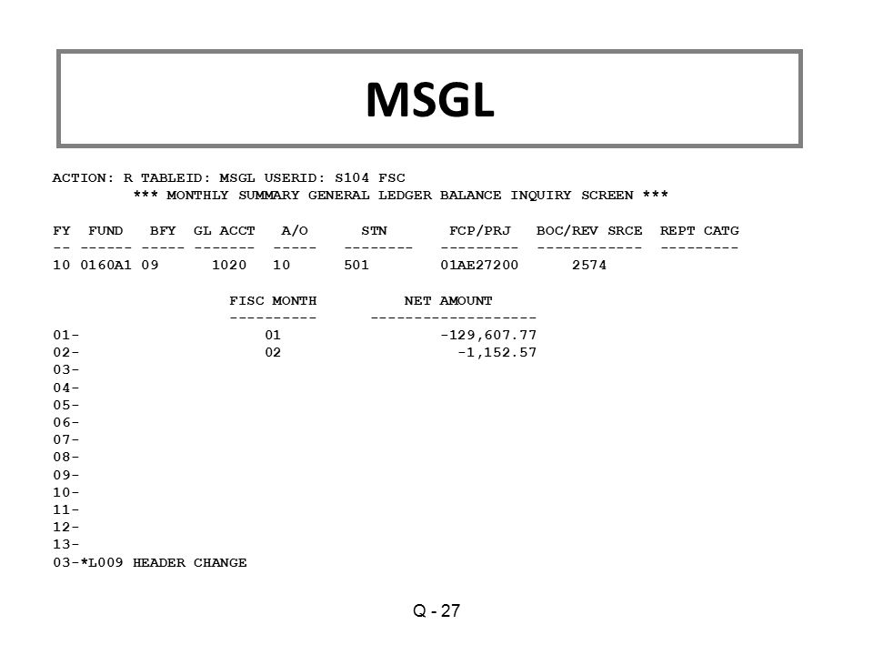 MSGL Q - 27 ACTION: R TABLEID: MSGL USERID: S104 FSC