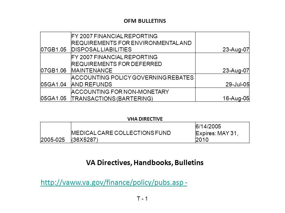VA Directives, Handbooks, Bulletins
