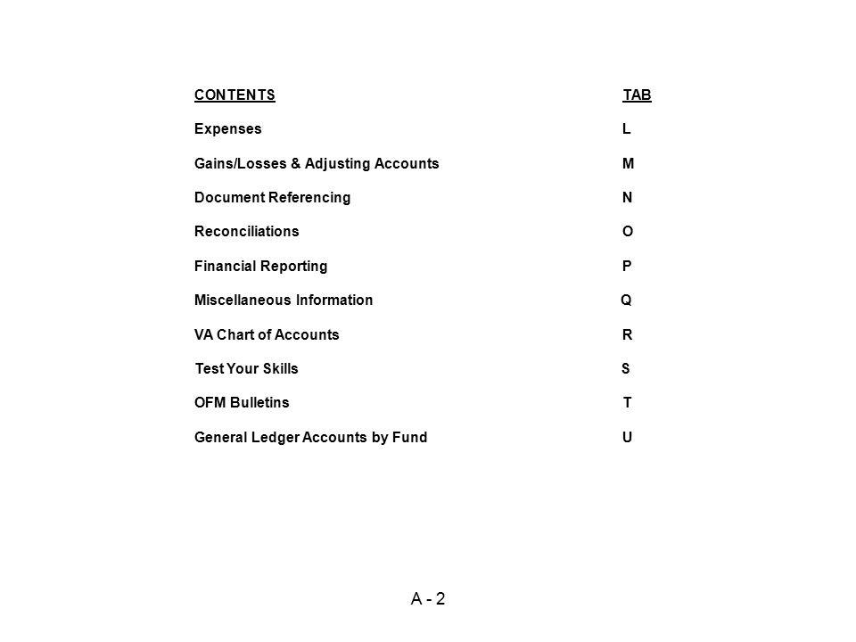 A - 2 CONTENTS TAB Expenses L Gains/Losses & Adjusting Accounts M