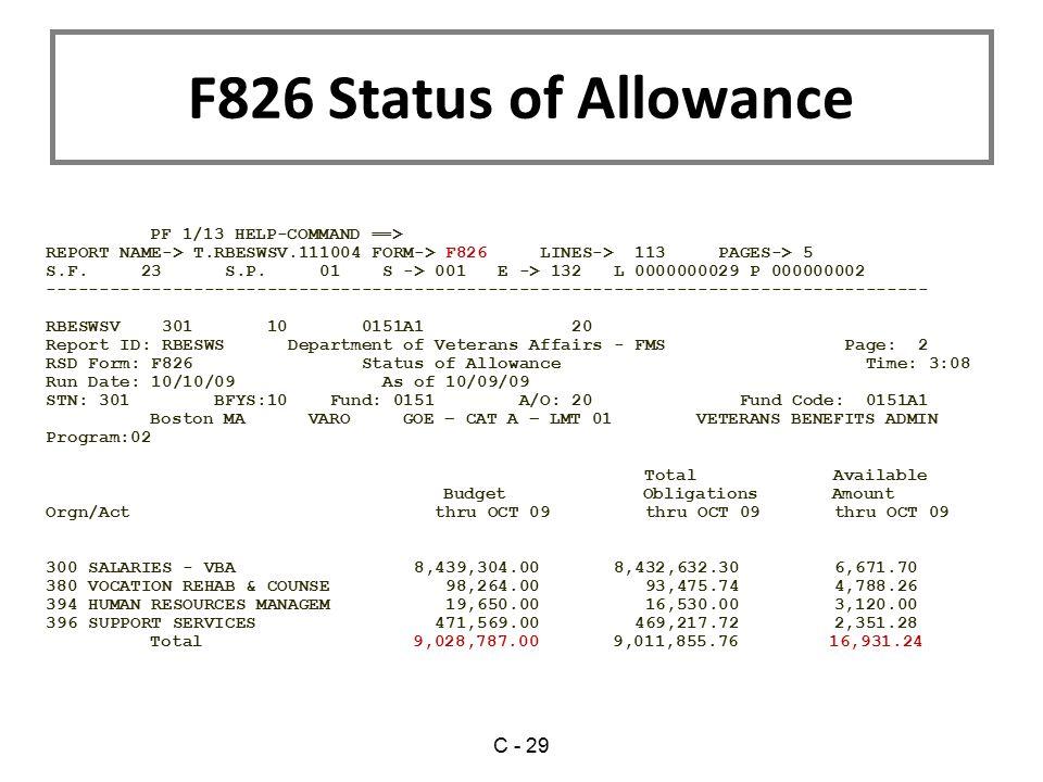 F826 Status of Allowance C - 29