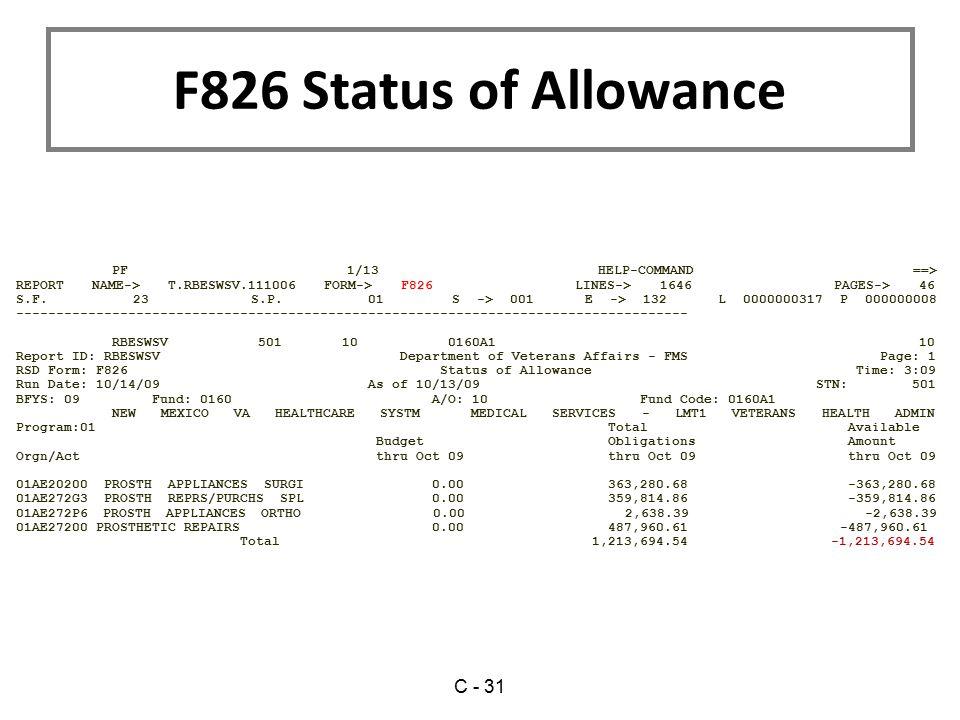 F826 Status of Allowance C - 31