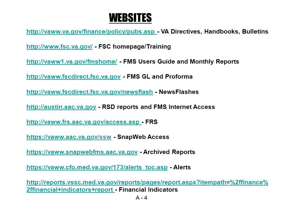 WEBSITES http://vaww.va.gov/finance/policy/pubs.asp - VA Directives, Handbooks, Bulletins. http://www.fsc.va.gov/ - FSC homepage/Training.