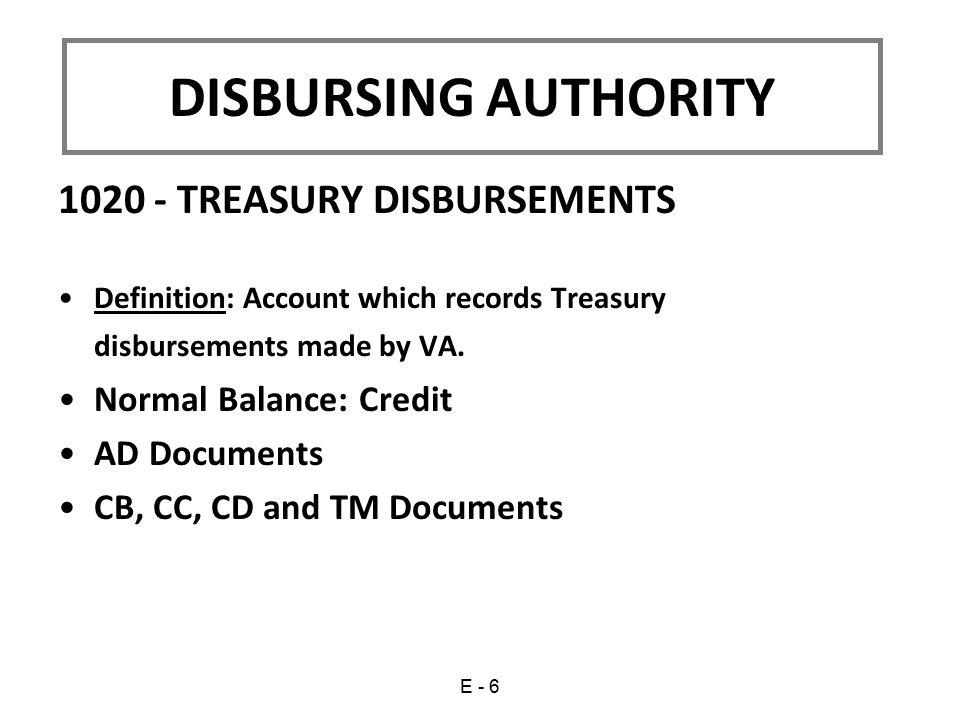 DISBURSING AUTHORITY 1020 - TREASURY DISBURSEMENTS