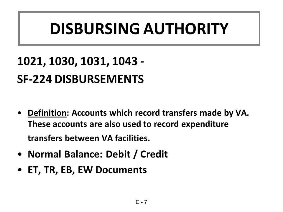 DISBURSING AUTHORITY 1021, 1030, 1031, 1043 - SF-224 DISBURSEMENTS