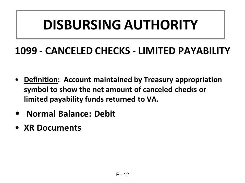DISBURSING AUTHORITY 1099 - CANCELED CHECKS - LIMITED PAYABILITY