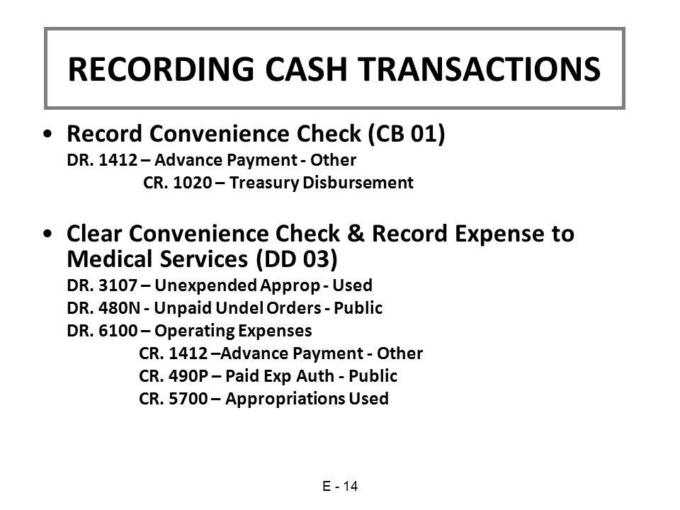 RECORDING CASH TRANSACTIONS