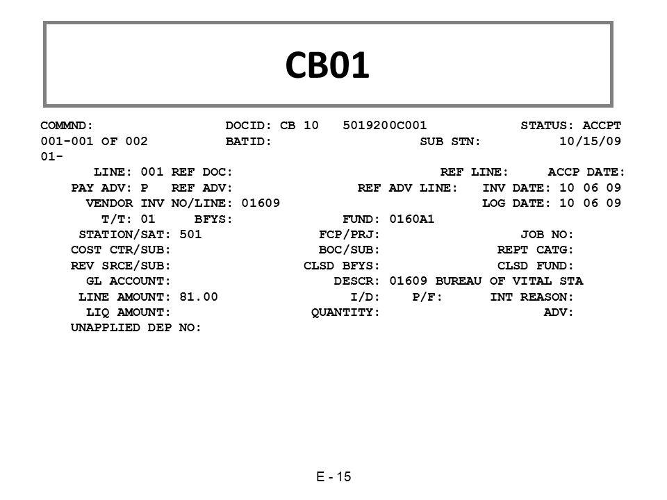 CB01 COMMND: DOCID: CB 10 5019200C001 STATUS: ACCPT