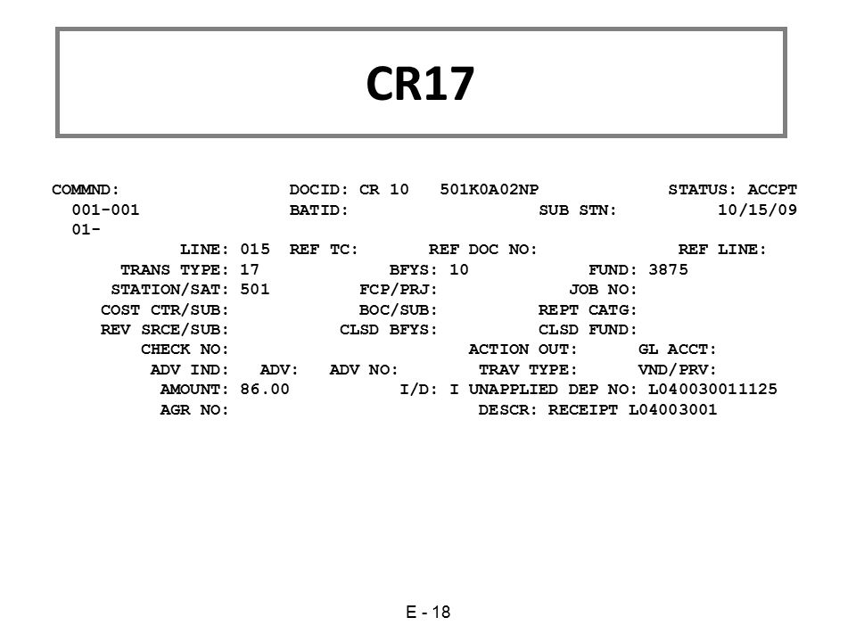 CR17 COMMND: DOCID: CR 10 501K0A02NP STATUS: ACCPT