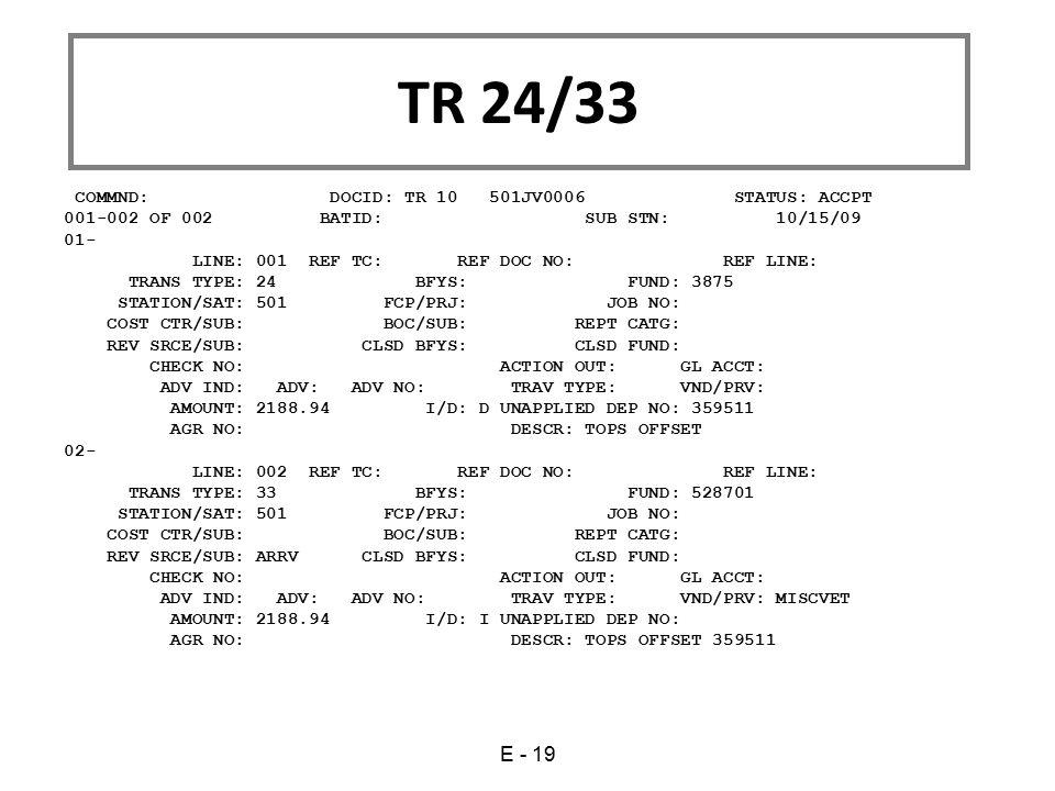 TR 24/33 E - 19 COMMND: DOCID: TR 10 501JV0006 STATUS: ACCPT