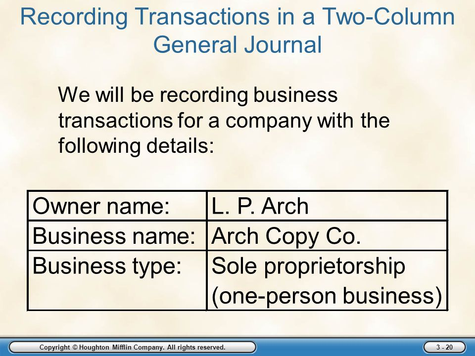 Recording Transactions in a Two-Column General Journal