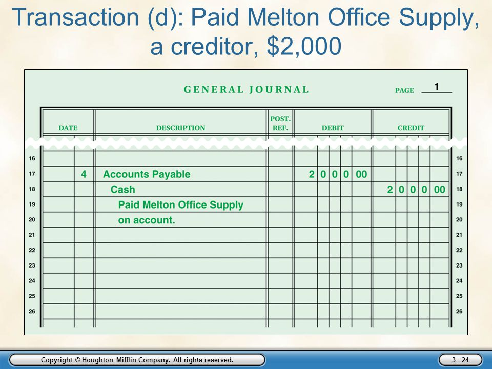Transaction (d): Paid Melton Office Supply, a creditor, $2,000