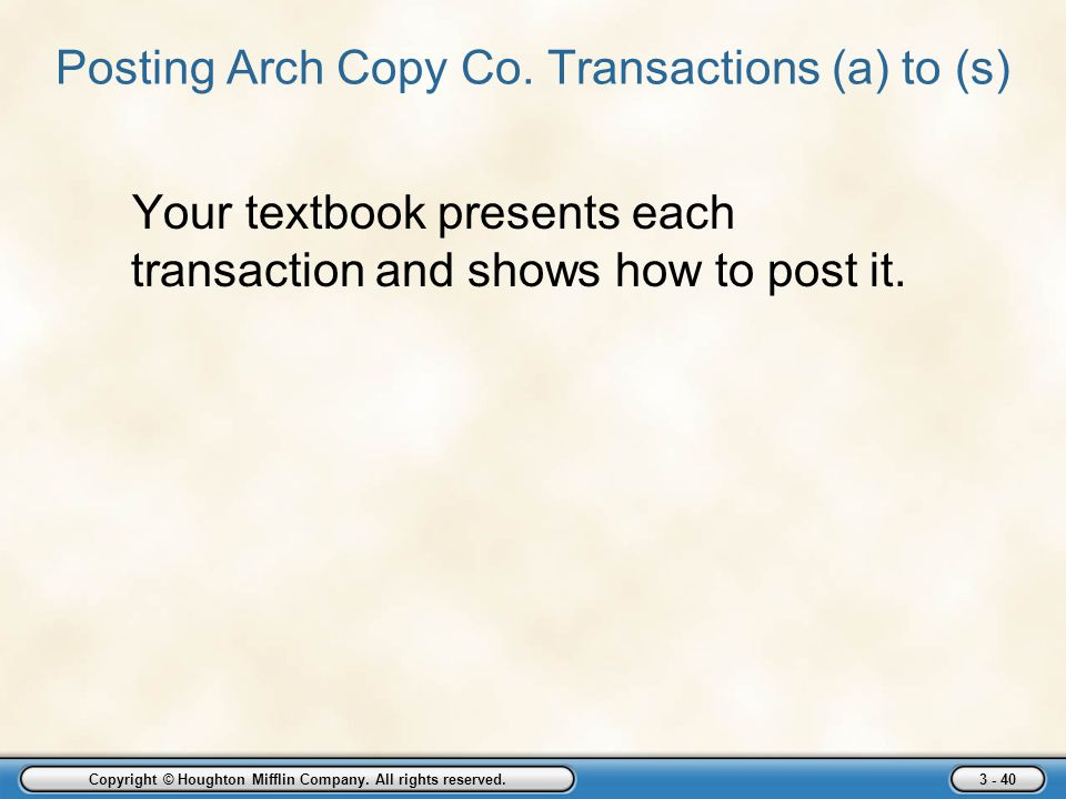 Posting Arch Copy Co. Transactions (a) to (s)