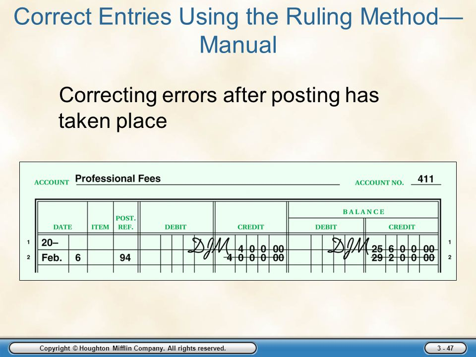 Correct Entries Using the Ruling Method—Manual