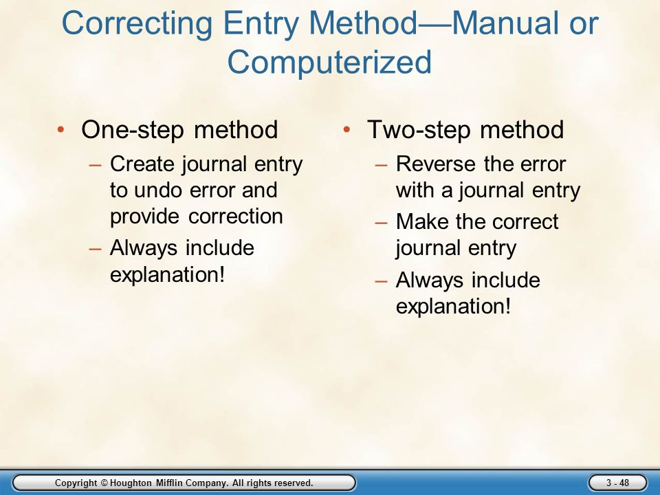 Correcting Entry Method—Manual or Computerized