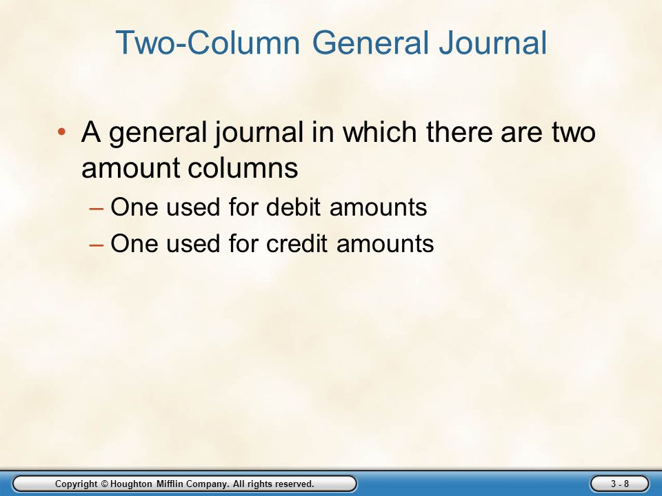 Two-Column General Journal