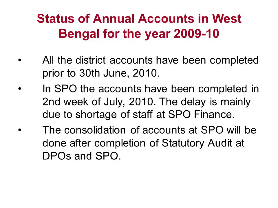 Status of Annual Accounts in West Bengal for the year 2009-10
