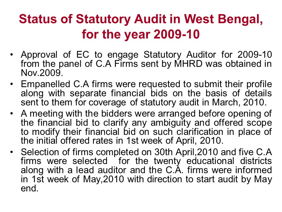 Status of Statutory Audit in West Bengal, for the year 2009-10