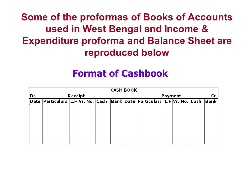 Some of the proformas of Books of Accounts used in West Bengal and Income & Expenditure proforma and Balance Sheet are reproduced below