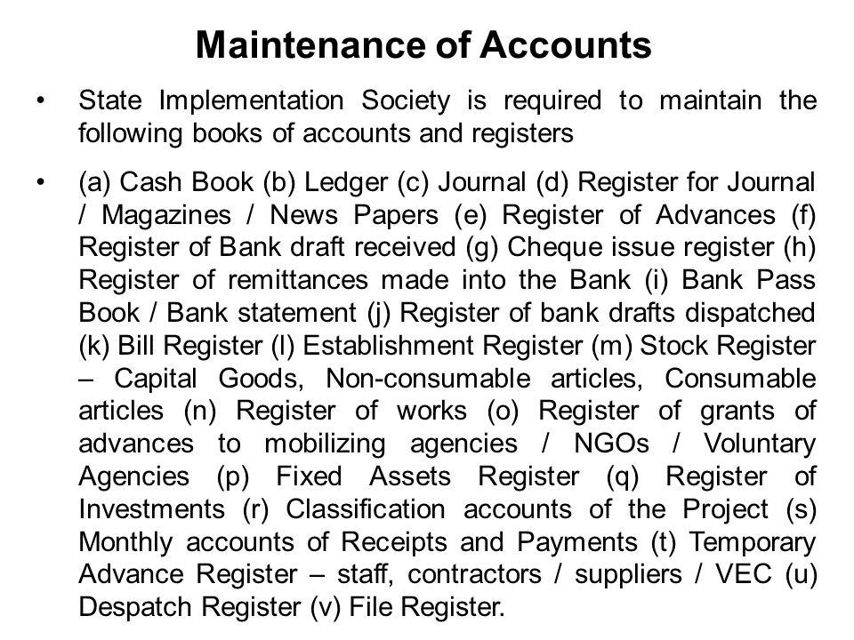 Maintenance of Accounts
