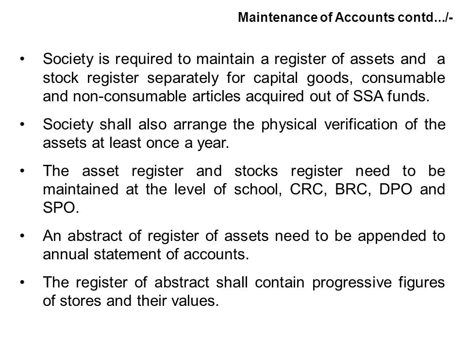 Maintenance of Accounts contd.../-