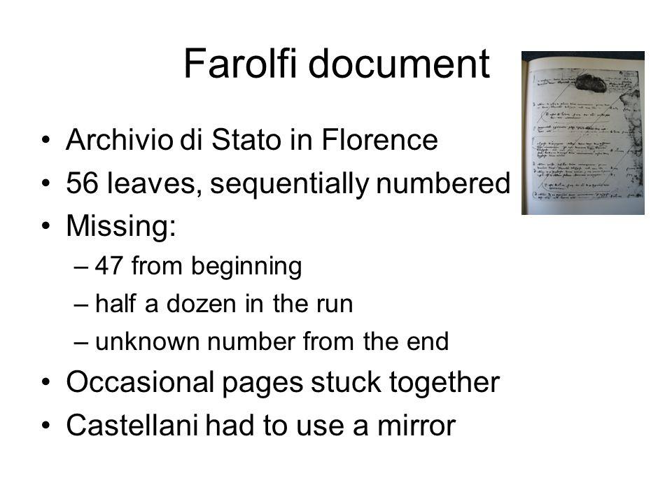 Farolfi document Archivio di Stato in Florence