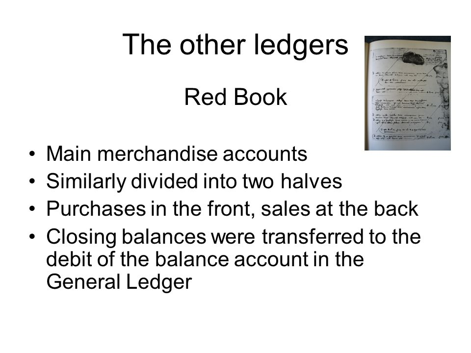 The other ledgers Red Book Main merchandise accounts