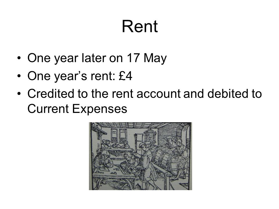 Rent One year later on 17 May One year's rent: £4