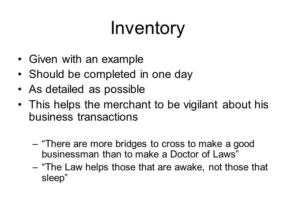 Inventory Given with an example Should be completed in one day