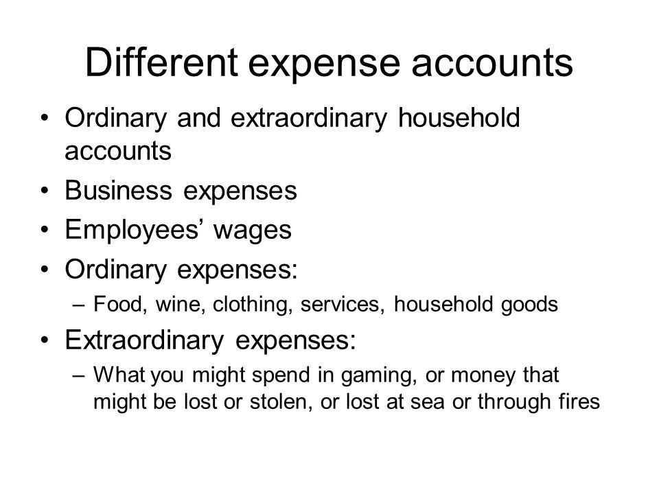 Different expense accounts