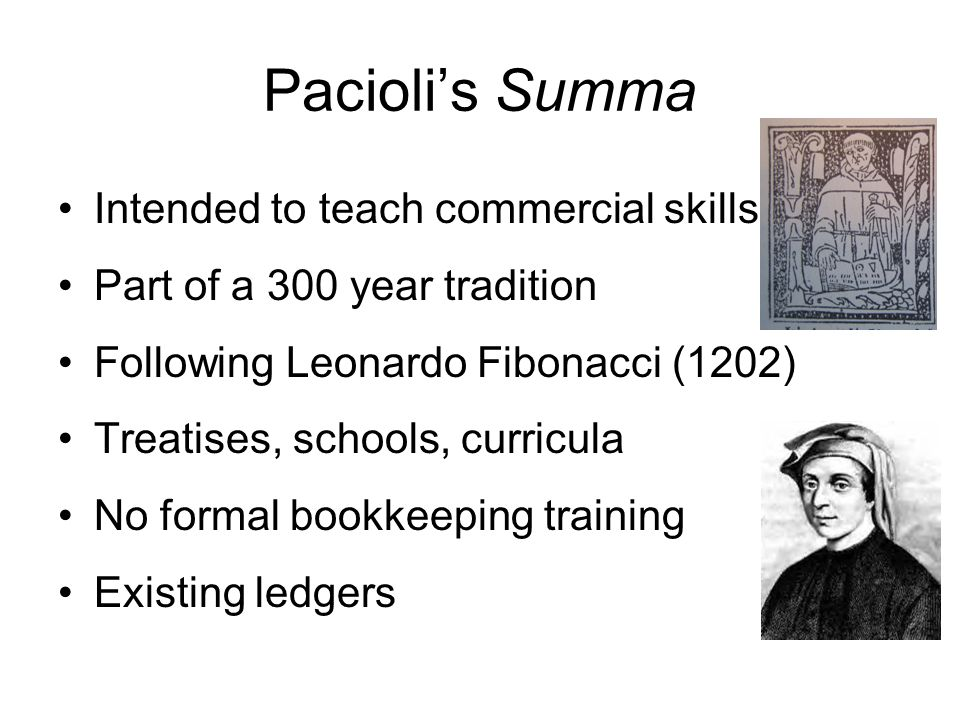 Pacioli's Summa Intended to teach commercial skills