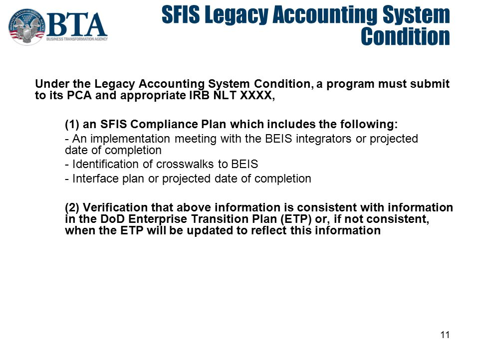SFIS Legacy Accounting System Condition