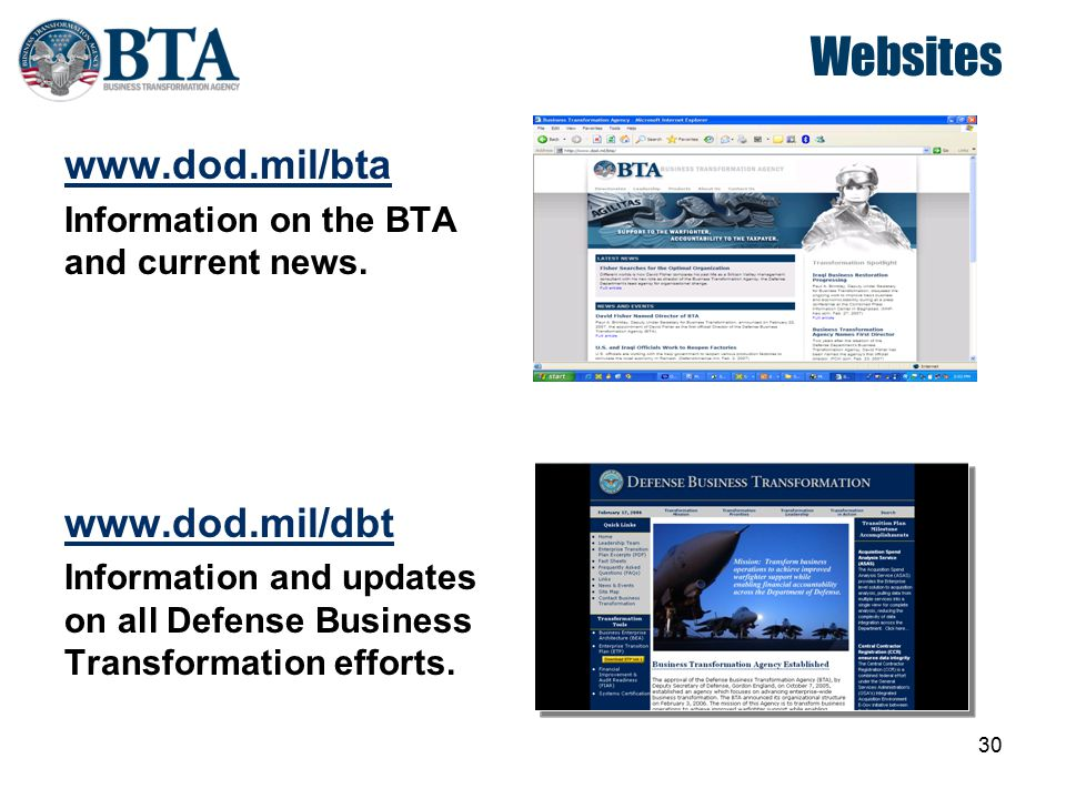 Websites www.dod.mil/bta www.dod.mil/dbt