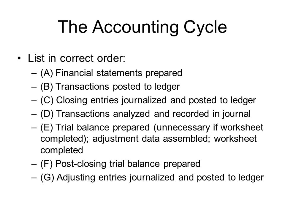 The Accounting Cycle List in correct order: