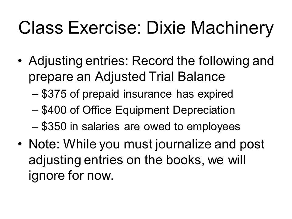Class Exercise: Dixie Machinery