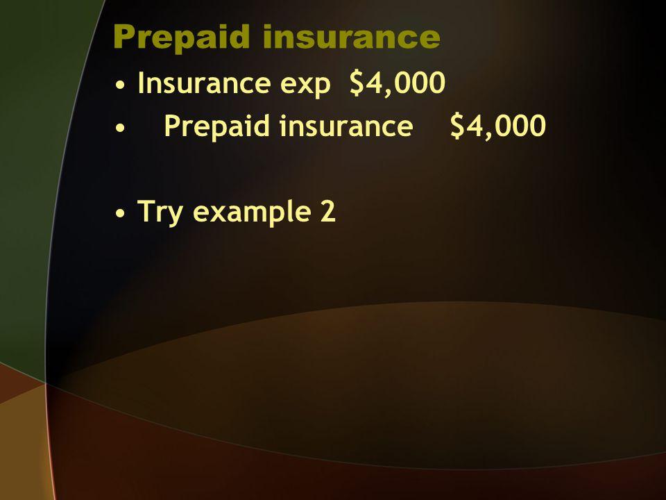 Prepaid insurance Insurance exp $4,000 Prepaid insurance $4,000