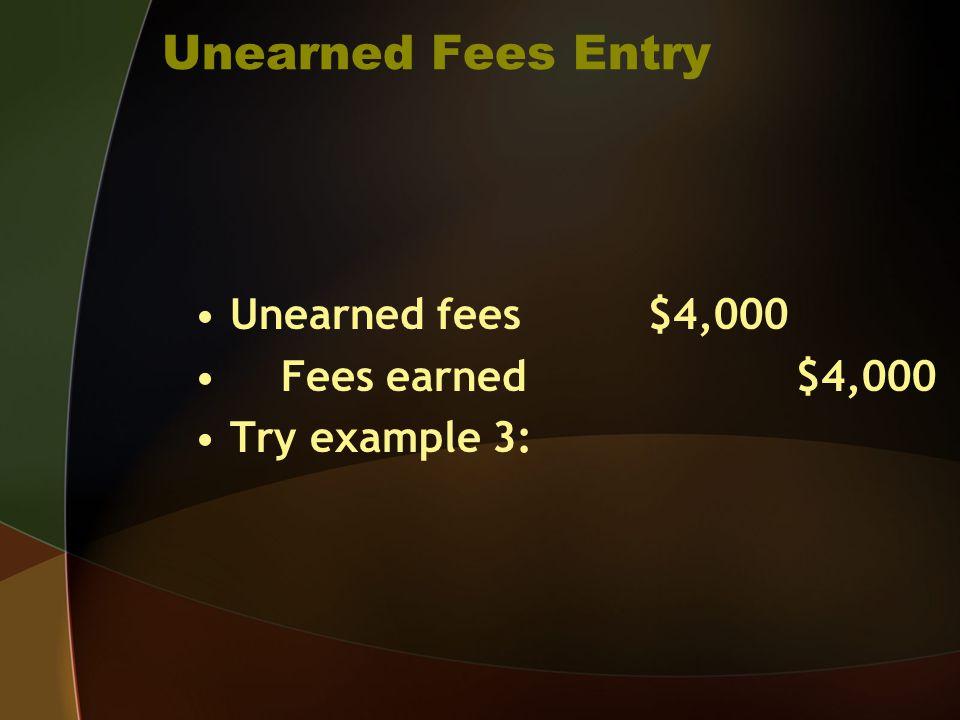Unearned Fees Entry Unearned fees $4,000 Fees earned $4,000